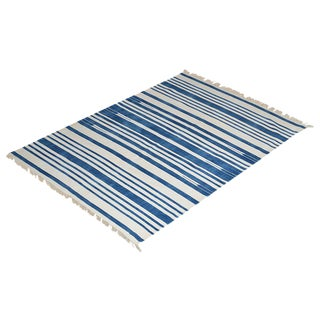 Orchid Rug, 5x8, Blue & White For Sale