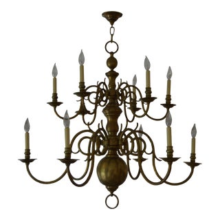 1920s 12-Light Dutch Baroque Style Two-Tiered Polished Brass Chandelier For Sale