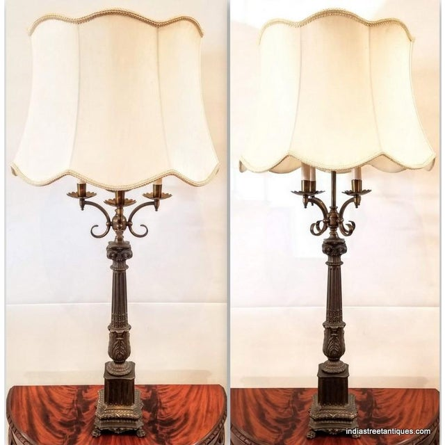 Pair Vintage 1920s French Empire Style Candelabra Table Lamps For Sale - Image 10 of 10