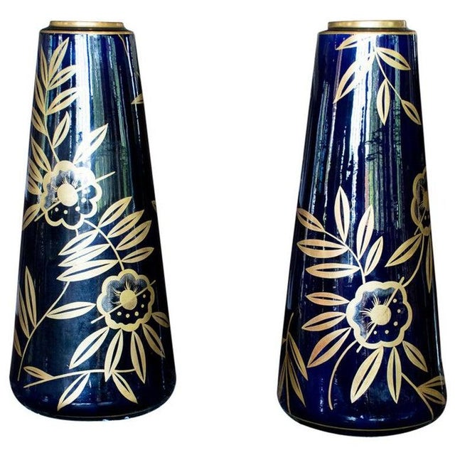 Blue Art Nouveau Cobalt Blue and Gold Vases by Gustave Asch, Pair For Sale - Image 8 of 8