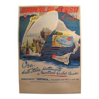 1960's Original Vintage Italian Grimaldi Siosa Lines + Rosanna Schiaffino Poster - (Linen Backed, Italian Version) For Sale