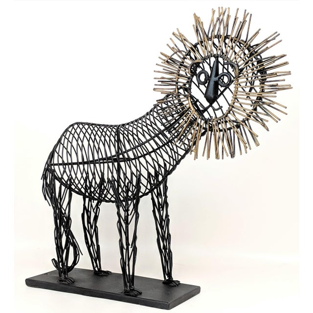 Vintage Lion Wire Sculpture For Sale - Image 10 of 11