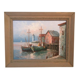 1950s Vintage Original Max Savy Harbor Scene Oil Painting For Sale