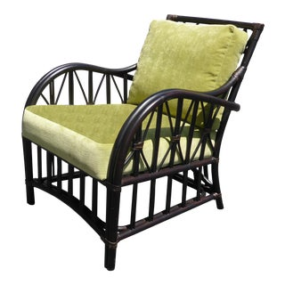 Palecek Furniture Rattan Faux Bamboo Arm Chair With Lime Cushions For Sale
