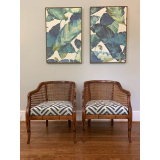 Mid-Century Sam Moore Caned Barrel Chairs- A Pair Preview