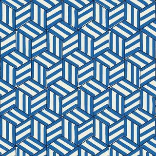 Sample - Schumacher Tumbling Blocks Geometric Stripes Wallpaper in Cobalt Blue For Sale