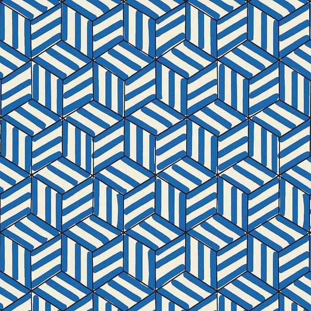 Sample - Schumacher Tumbling Blocks Geometric Stripes Wallpaper in Cobalt Blue For Sale