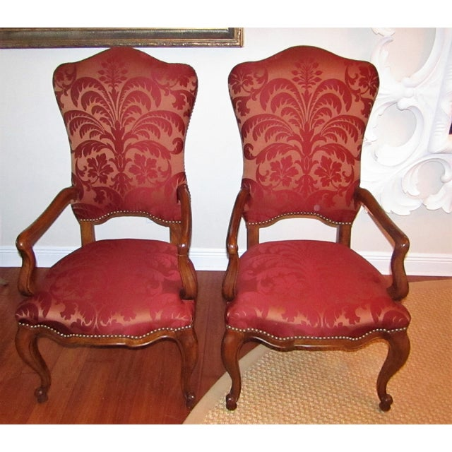Perfect set of armed chairs, host & hostess by Century Furniture. Featuring Silk Damask Upholstery in red/burgandy, Carved...