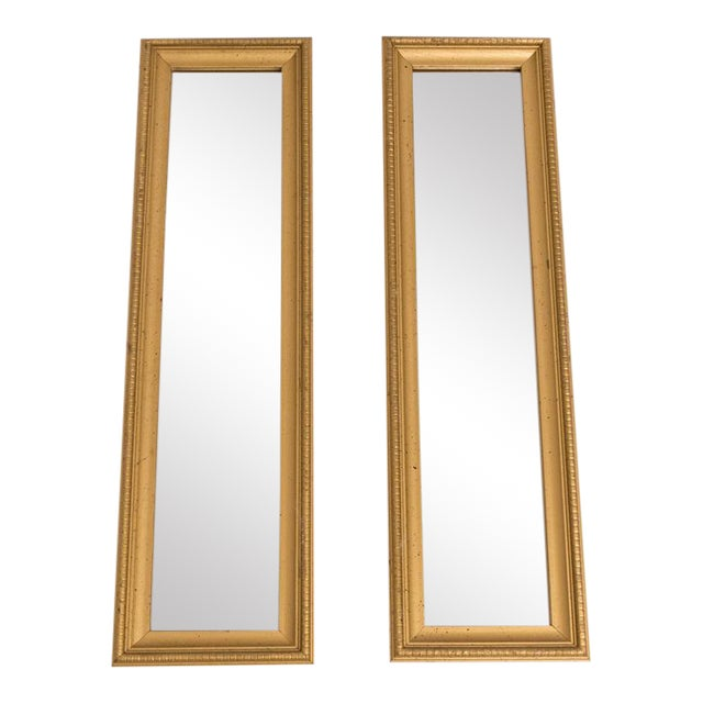 Narrow Gold Wall Mirrors - a Pair For Sale