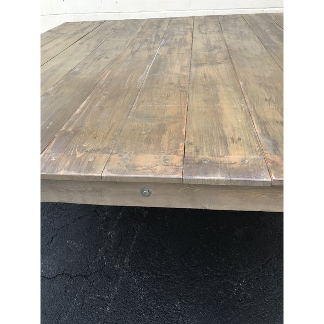 Wood Rustic Dove Gray Wood Square Farm Table For Sale - Image 7 of 11