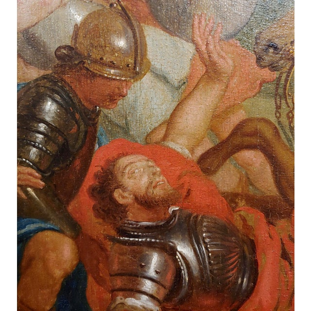 """17th Century 16th/17th Century Old Master """"Wounded Warrior"""" Oil Painting For Sale - Image 5 of 11"""