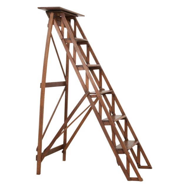 French Early 20th Century Oak Folding Ladder For Sale