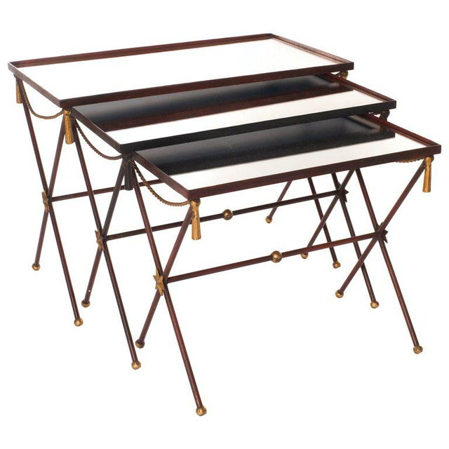 French Painted Mirrored Nesting Tables - Set of 3 - Image 6 of 6