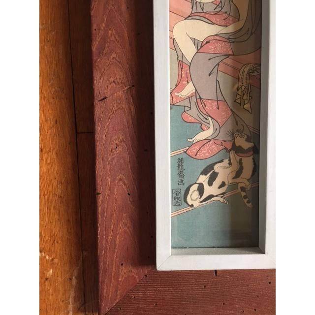 Asian Rustic Wood Framed Wood Block Print For Sale - Image 4 of 5