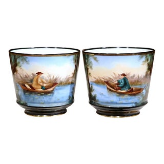 19th Century French Hand Painted Porcelain Cachepots With Fishermen - A Pair