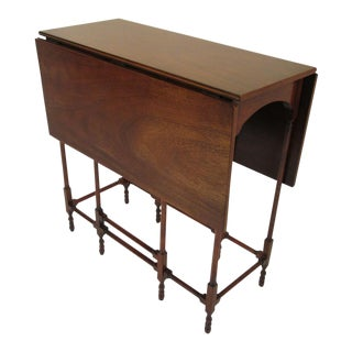 1940s Traditional Baker Drop Leaf Mahogany End Table For Sale