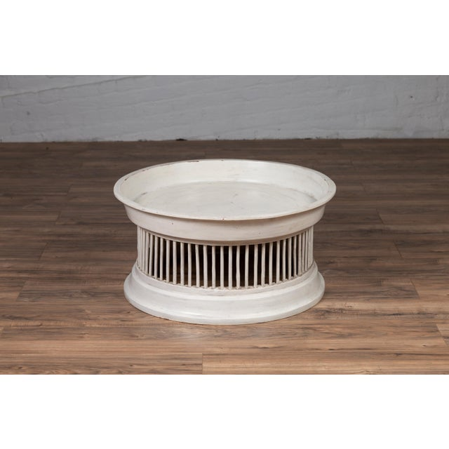 Wood Contemporary Thai Off-White Rattan Drum Design Coffee Table with Spindle Motifs For Sale - Image 7 of 13
