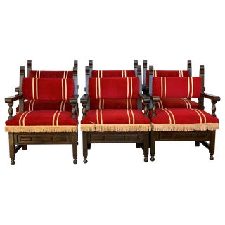 19th Set of Six Spanish Low Armchairs in Carved Walnut and Red Velvet Upholstery For Sale