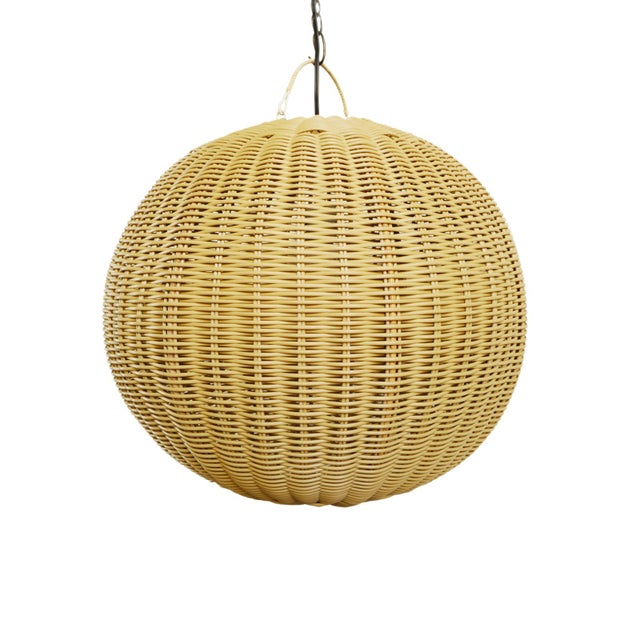 Faux Rattan Globe Lantern Small For Sale In Los Angeles - Image 6 of 6