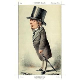 """1869 """"Acton Ayrton"""" Vanity Fair Portrait Lithograph Print For Sale"""