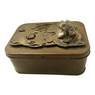 Small Vintage Metal Storage Box With Frog on Lilly Pads For Sale