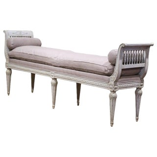 19th Century French Directoire Carved Painted Upholstered Banquette For Sale