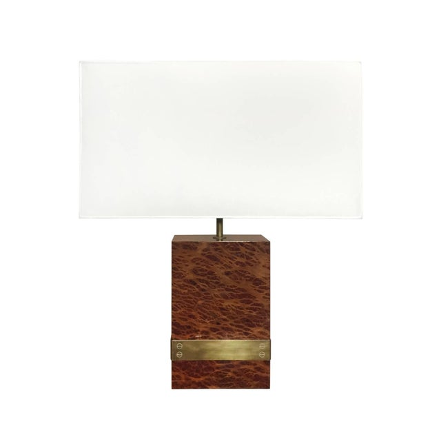 Rectangular burl wood and bronze banded table lamp, France, 1970s.