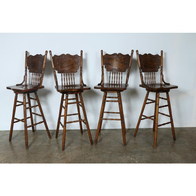 Country Style Solid Oak Bar Stools - Set of 4 - Image 5 of 9