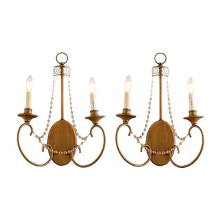 """Estelle"" Champagne Gold Wall Sconce- Pair For Sale"