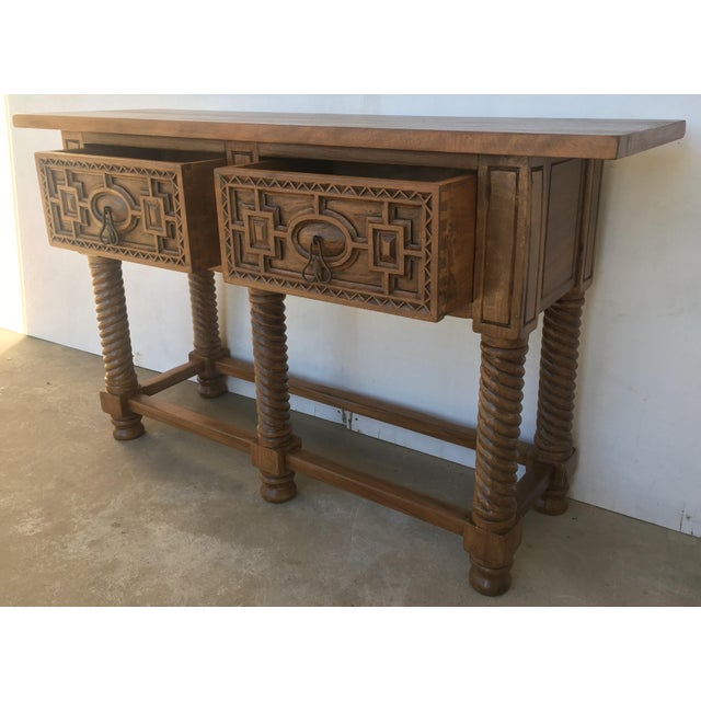 Early 19th Century Carved Walnut Wood Catalan Spanish Console Table For Sale - Image 9 of 13