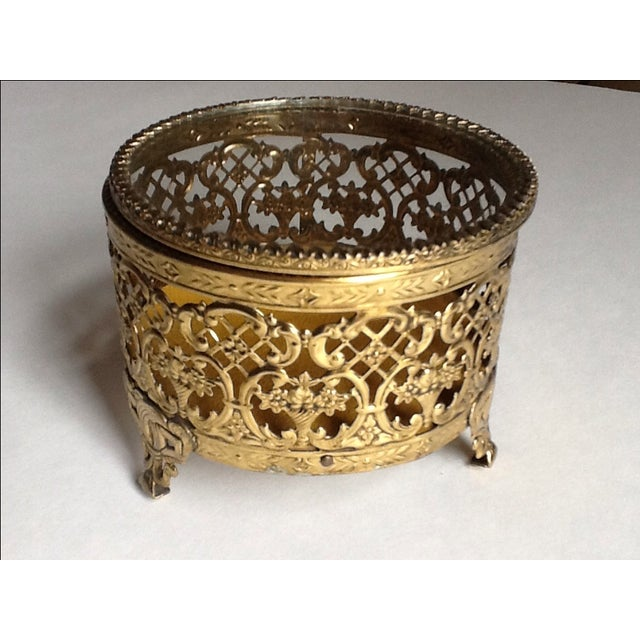 Vintage Gold Filigree Ornate Jewelry Box - Image 3 of 5