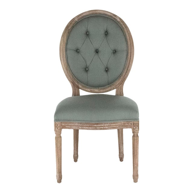 Everest Medallion Side Chair in Sage For Sale