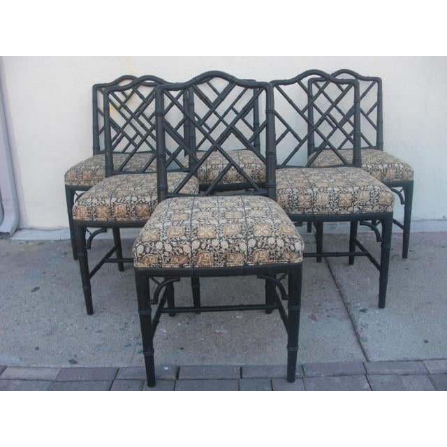 Mid 20th Century Vintage Mid Century Faux Bamboo Chippendale Dining Chairs- Set of 6 For Sale - Image 5 of 11