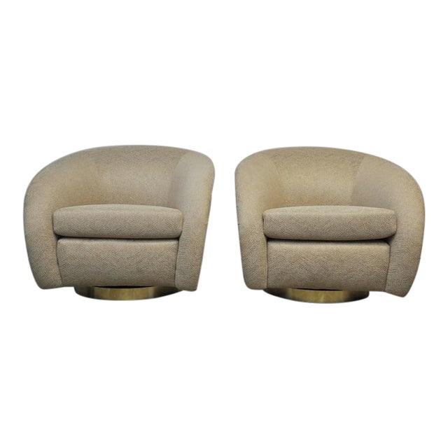Pair of Milo Baughman Swivel Chairs on Brass Bases For Sale