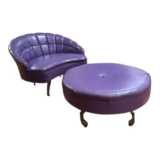 1960s Mid Century Modern Baughman Purple Vinyl Chair and Ottoman - 2 Pieces