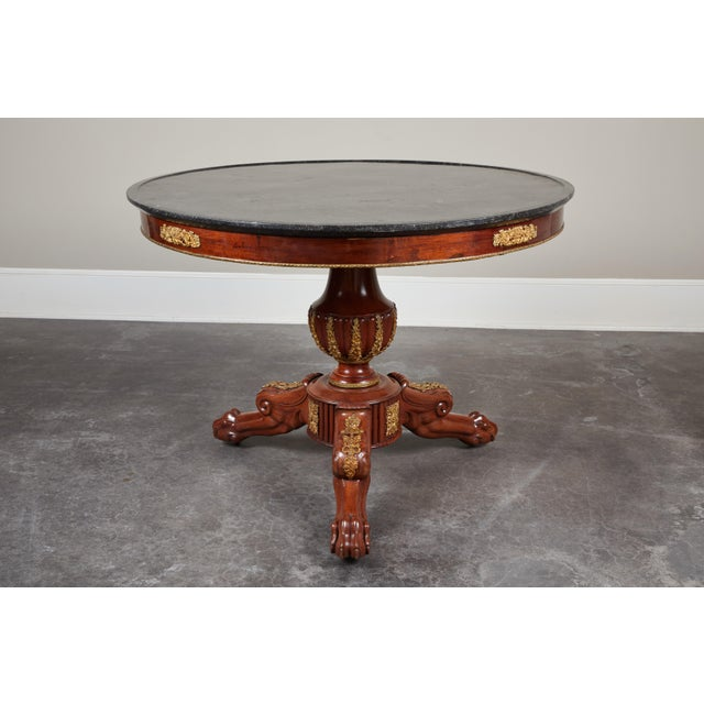 Gold Early 19th Century French Empire Mahogany Pedestal Table with Ormolu For Sale - Image 8 of 8