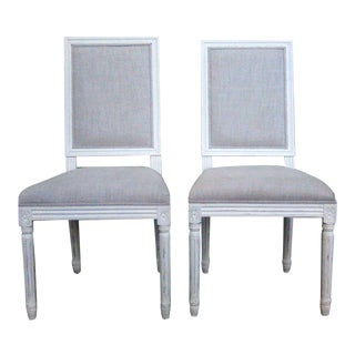 Restoration Hardware Vintage Oak Square Back Dining Chairs - a Pair For Sale