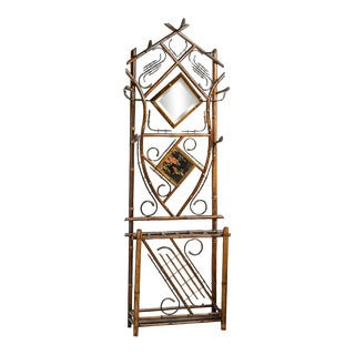 Mid 20th Century Bamboo and Lacquer Hall Stand For Sale