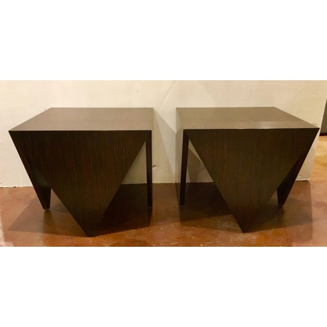Art Deco John Richard Art Deco Inspired Macassar Ebony Finished Wood Amara Point Side Tables Pair For Sale - Image 3 of 6