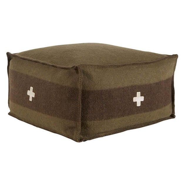 "Cabin Swiss Army Pouf, 24""X24""X13"", Green/Brown For Sale - Image 3 of 3"