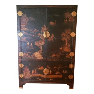 Maitland Smith Chinoiserie Entertainment Cabinet For Sale
