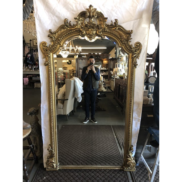 19th Century Antique French Louis XV Gilt Mirror For Sale - Image 10 of 10