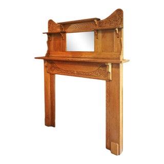 1910s Victorian Oak Fireplace Mantel For Sale
