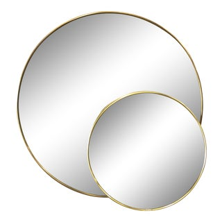 Pair of Mid-Century Italian Round Wall Mirrors For Sale