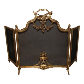 A French Louis XVI Style, Three-Panel Bronze Fire Screen For Sale
