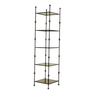 Hollywood Regency Vintage 5 Tier Wrought Iron & Glass Etagere For Sale