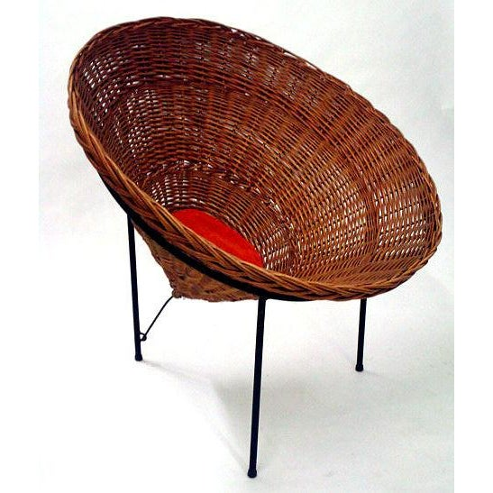 Boho Chic Sunflower Woven Wicker Cone Basket Lounge Chair by Roberto Mango for Tecno For Sale - Image 3 of 6