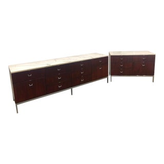 1960s Mid-Century Modern Florence Knoll Rosewood and Marble Credenza Ensemble - 2 Pieces For Sale