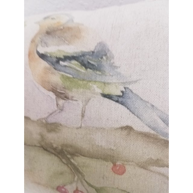 Textile Two Birds With Berries Pillow - Made in Wales For Sale - Image 7 of 11