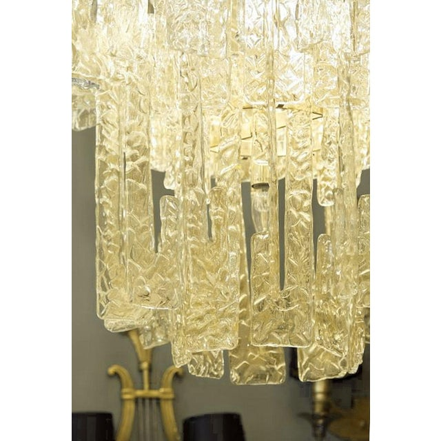 Mid century modern Mazzega gold hooks Murano interlocking glass elements chandelier - Image 4 of 7